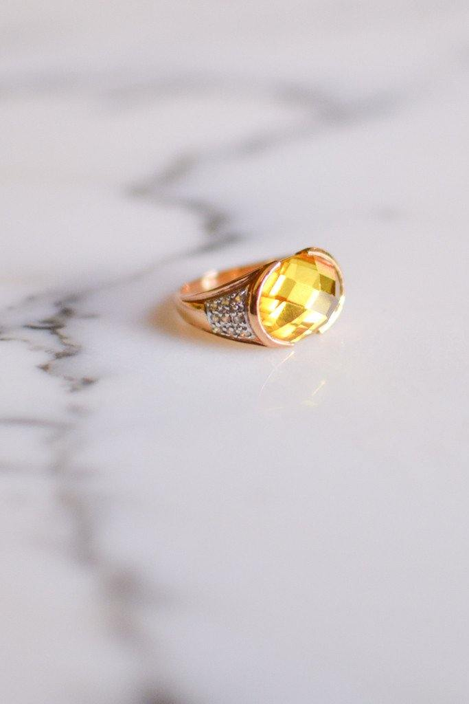 1980's 18kt Gold Vermeil Yellow Citrine and Pave Diamond Ring - Vintage Meet Modern  - 1