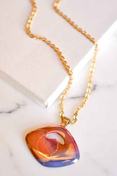 1980's Foiled Art Glass Sunset Necklace, Necklaces - Vintage Meet Modern
