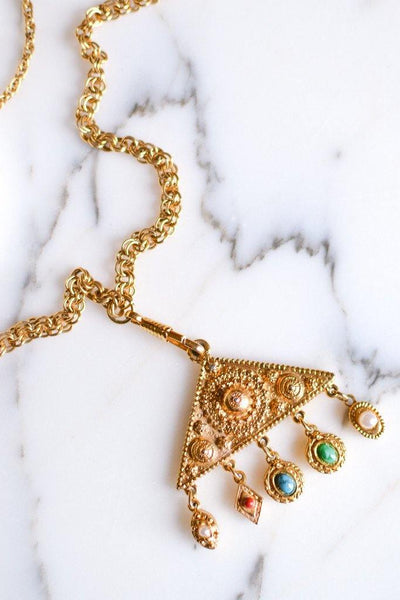 Goldette Etruscan Charm Statement Necklace by Goldette - Vintage Meet Modern - Chicago, Illinois