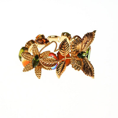 Zoe Coste Butterfly Bracelet with Green and Yellow Citrine Rhinestones by Zoe Coste - Vintage Meet Modern Vintage Jewelry - Chicago, Illinois - #oldhollywoodglamour #vintagemeetmodern #designervintage #jewelrybox #antiquejewelry #vintagejewelry