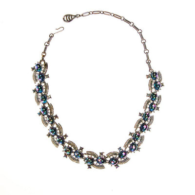 Vintage Coro Blue Cabochon Rhinestone Necklace by Coro - Vintage Meet Modern Vintage Jewelry - Chicago, Illinois - #oldhollywoodglamour #vintagemeetmodern #designervintage #jewelrybox #antiquejewelry #vintagejewelry