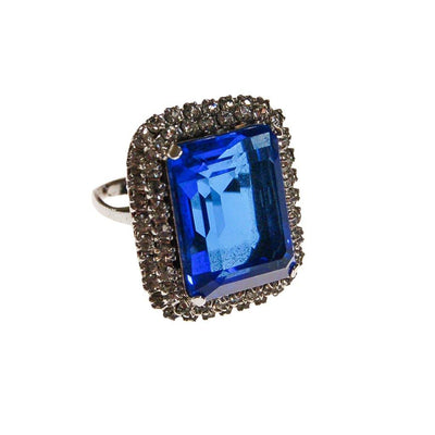 Sapphire Crystal Cocktail Ring by 1960s - Vintage Meet Modern Vintage Jewelry - Chicago, Illinois - #oldhollywoodglamour #vintagemeetmodern #designervintage #jewelrybox #antiquejewelry #vintagejewelry