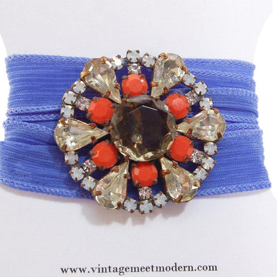 Blue Ribbon Wrap Bracelet with Diamante, Coral, and Smokey Topaz Czech Rhinestone Button, Bracelets - Vintage Meet Modern