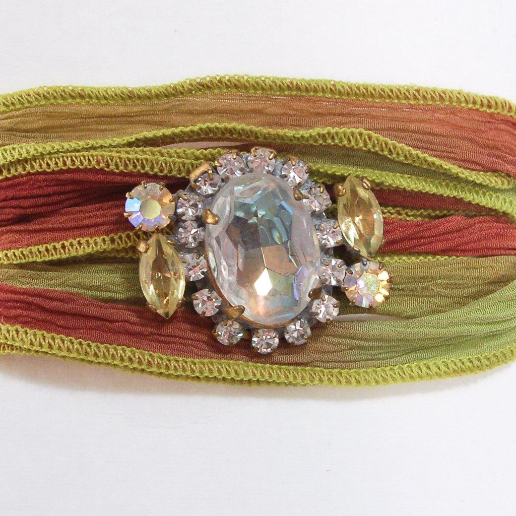Green and Red Ribbon Wrap Bracelet with Aurora Borealis and Diamante Rhinestone Button