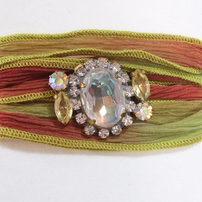 Green and Red Ribbon Wrap Bracelet with Aurora Borealis and Diamante Rhinestone Button by Vintage Meet Modern - Vintage Meet Modern Vintage Jewelry - Chicago, Illinois - #oldhollywoodglamour #vintagemeetmodern #designervintage #jewelrybox #antiquejewelry #vintagejewelry