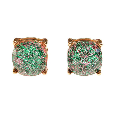 Always Sparkle Glitter Stud Earring Iridescent Green by Vintage Meet Modern - Vintage Meet Modern Vintage Jewelry - Chicago, Illinois - #oldhollywoodglamour #vintagemeetmodern #designervintage #jewelrybox #antiquejewelry #vintagejewelry