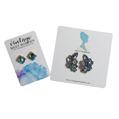 Always Sparkle Glitter Stud Earring Light Blue by Vintage Meet Modern  - Vintage Meet Modern Vintage Jewelry - Chicago, Illinois - #oldhollywoodglamour #vintagemeetmodern #designervintage #jewelrybox #antiquejewelry #vintagejewelry
