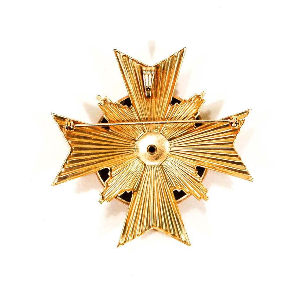 1960s Maltese Cross Pendant, Gold, Yellow, Brown, with Flowers and Rhinestone Center, Brooches - Vintage Meet Modern