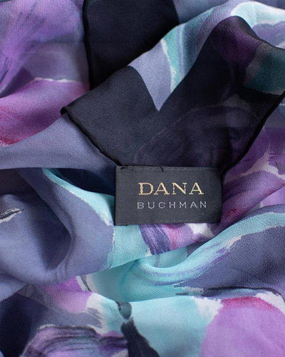 Dana Buchman Purple and Aqua Floral Scarf Iris Orchid by Dana Buchman - Vintage Meet Modern Vintage Jewelry - Chicago, Illinois - #oldhollywoodglamour #vintagemeetmodern #designervintage #jewelrybox #antiquejewelry #vintagejewelry