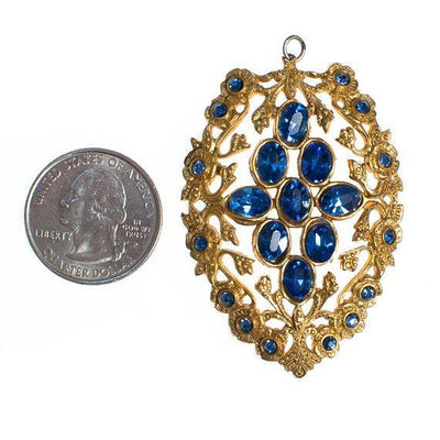 Vintage Czech Gilt Gold Tone Sapphire Blue Crystal Pendant by 1940s - Vintage Meet Modern - Chicago, Illinois