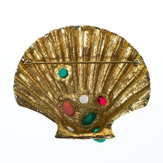 Vintage Castlecliff Coloful Seashell Brooch with Jeweled Rhinestone Cabochons, Brooch - Vintage Meet Modern