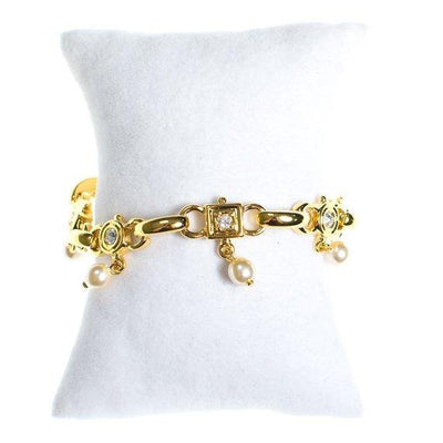 Vintage Joan Rivers Gold Tone Bracelet with faux pearls and diamante crystals