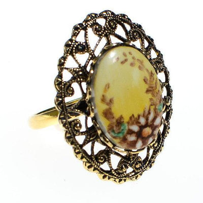 Vintage Daisy Ring with Filigree Setting, Adjustable, Antique Gold Tone by 1960s - Vintage Meet Modern Vintage Jewelry - Chicago, Illinois - #oldhollywoodglamour #vintagemeetmodern #designervintage #jewelrybox #antiquejewelry #vintagejewelry