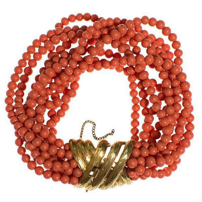 Vintage Ciner Coral Multi Strand Coral Bracelet with Gold Clasp by 1970s - Vintage Meet Modern - Chicago, Illinois