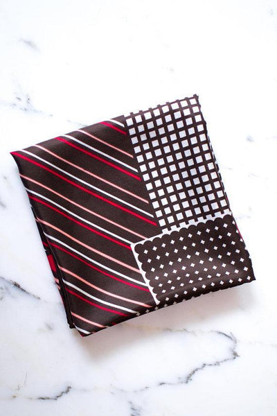 Pierre Cardin Silk Scarf, Geometric Design, Brown, White, Pink, and Red, Stripes and Squares by Pierre Cardin - Vintage Meet Modern - Chicago, Illinois