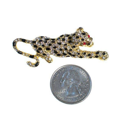 Vintage Spotted Leopard Rhinestone Brooch, Pin Black, Gold, Diamante Crystals by 1980s - Vintage Meet Modern - Chicago, Illinois