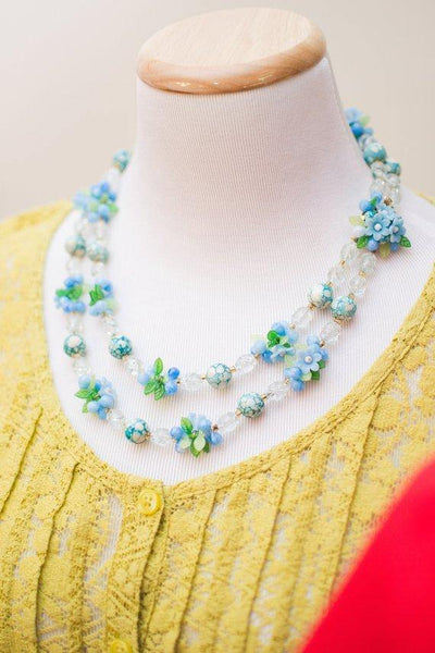 Blue and White Crystal Bubble Bead Necklace