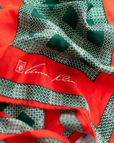 Anne Klein 100% Silk Scarf Red and Green Plaid Houndstooth by Anne Klein - Vintage Meet Modern - Chicago, Illinois