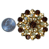 Vintage Yellow and Amber Rhinestone Round Medallion Brooch, Brooch - Vintage Meet Modern