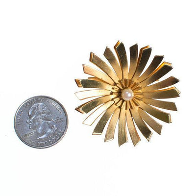 Vintage Mid Century Modern Gold Starburst Brooch With Pearl Center by 1960s - Vintage Meet Modern - Chicago, Illinois