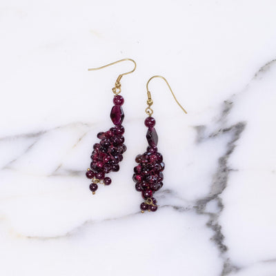 Vintage Garnet Red Beaded Grape Earrings by Unsigned - Vintage Meet Modern - Chicago, Illinois