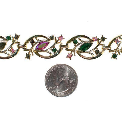 Vintage Coro Bracelet, Pastel Rainbow Rhinestones, Safety Chain, Gold Tone by 1950s - Vintage Meet Modern - Chicago, Illinois