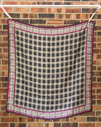 Anne Klein Silk Scarf Black, White, and Pink Checkerboard Pattern, Scarf - Vintage Meet Modern