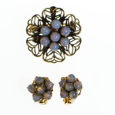 Vintage Petite Opaline Cluster Earrings, Clip On by 1950s - Vintage Meet Modern - Chicago, Illinois