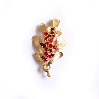 Vintage Gold Leaf and Red Rhinestone Brooch by JJ - Vintage Meet Modern Vintage Jewelry - Chicago, Illinois - #oldhollywoodglamour #vintagemeetmodern #designervintage #jewelrybox #antiquejewelry #vintagejewelry