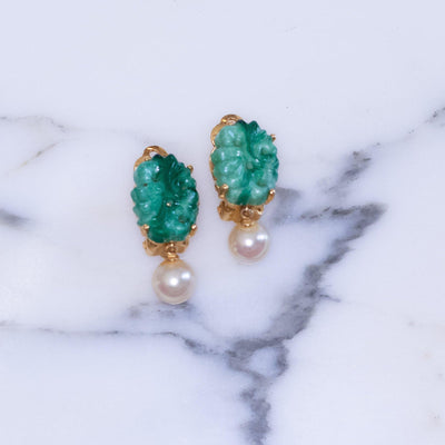 Vintage Ciner Faux Pearl and Jade Glass Dangling Statement Earrings by Ciner - Vintage Meet Modern Vintage Jewelry - Chicago, Illinois - #oldhollywoodglamour #vintagemeetmodern #designervintage #jewelrybox #antiquejewelry #vintagejewelry