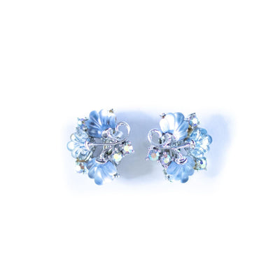 Blue Glass Fan Earrings by Unsigned Beauty - Vintage Meet Modern Vintage Jewelry - Chicago, Illinois - #oldhollywoodglamour #vintagemeetmodern #designervintage #jewelrybox #antiquejewelry #vintagejewelry