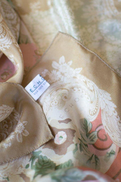 Echo 100% Silk Scarf, Beige Tones with Floral Design, Hand Rolled Edges, Made in Japan by 1980s - Vintage Meet Modern - Chicago, Illinois