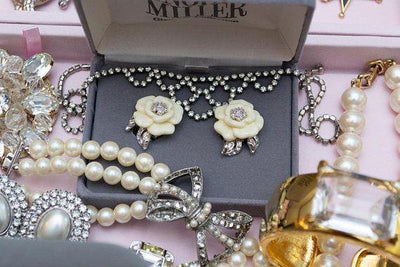 Vintage Nolan Miller Camelia Earrings With Diamante Crystals, Clip On by Nolan Miller - Vintage Meet Modern Vintage Jewelry - Chicago, Illinois - #oldhollywoodglamour #vintagemeetmodern #designervintage #jewelrybox #antiquejewelry #vintagejewelry