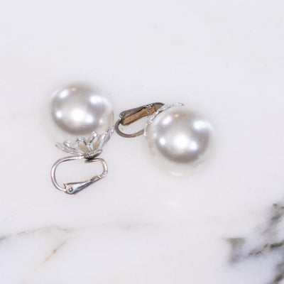 Vintage Huge White Faux Pearl Lustrous Earrings by Unsigned - Vintage Meet Modern - Chicago, Illinois