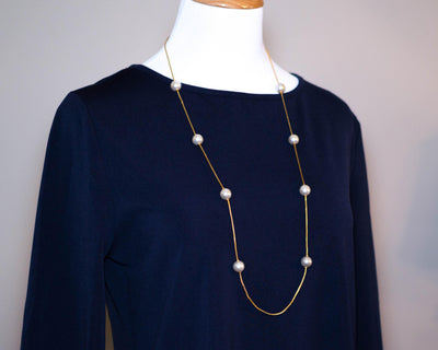 Napier Gold Chain Necklace with Pearl Stations by Napier - Vintage Meet Modern - Chicago, Illinois