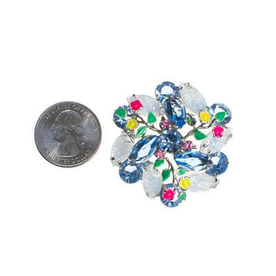 Vintage Blue Rhinestone Brooch with Colorful Enamel Flower Accents Pressed Glass Rhinestone Leaves