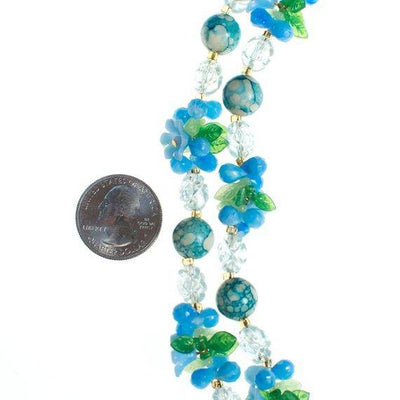 Blue Lucite Flowers and leaves Necklace