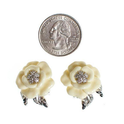Vintage Nolan Miller Camelia Earrings With Diamante Crystals, Clip On by Nolan Miller - Vintage Meet Modern - Chicago, Illinois