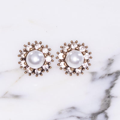 Vintage Style Faux Pearl Earrings with Crystal Halo by Vintage Meet Modern  - Vintage Meet Modern Vintage Jewelry - Chicago, Illinois - #oldhollywoodglamour #vintagemeetmodern #designervintage #jewelrybox #antiquejewelry #vintagejewelry