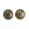 Vintage Silver and Gold Damascene Round Disc Earrings by Vintage Meet Modern  - Vintage Meet Modern - Chicago, Illinois