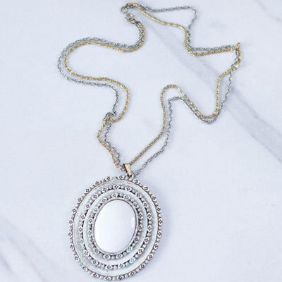 Vintage Florenza White Oval Medallion Statement Necklace by Florenza - Vintage Meet Modern Vintage Jewelry - Chicago, Illinois - #oldhollywoodglamour #vintagemeetmodern #designervintage #jewelrybox #antiquejewelry #vintagejewelry