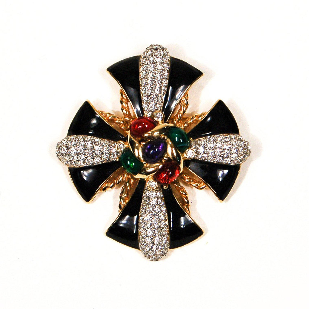 Ciner Rhinestone Jeweled Maltese Cross Brooch, Brooch - Vintage Meet Modern