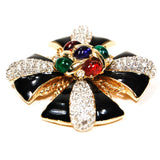 Ciner Rhinestone Jeweled Maltese Cross Brooch
