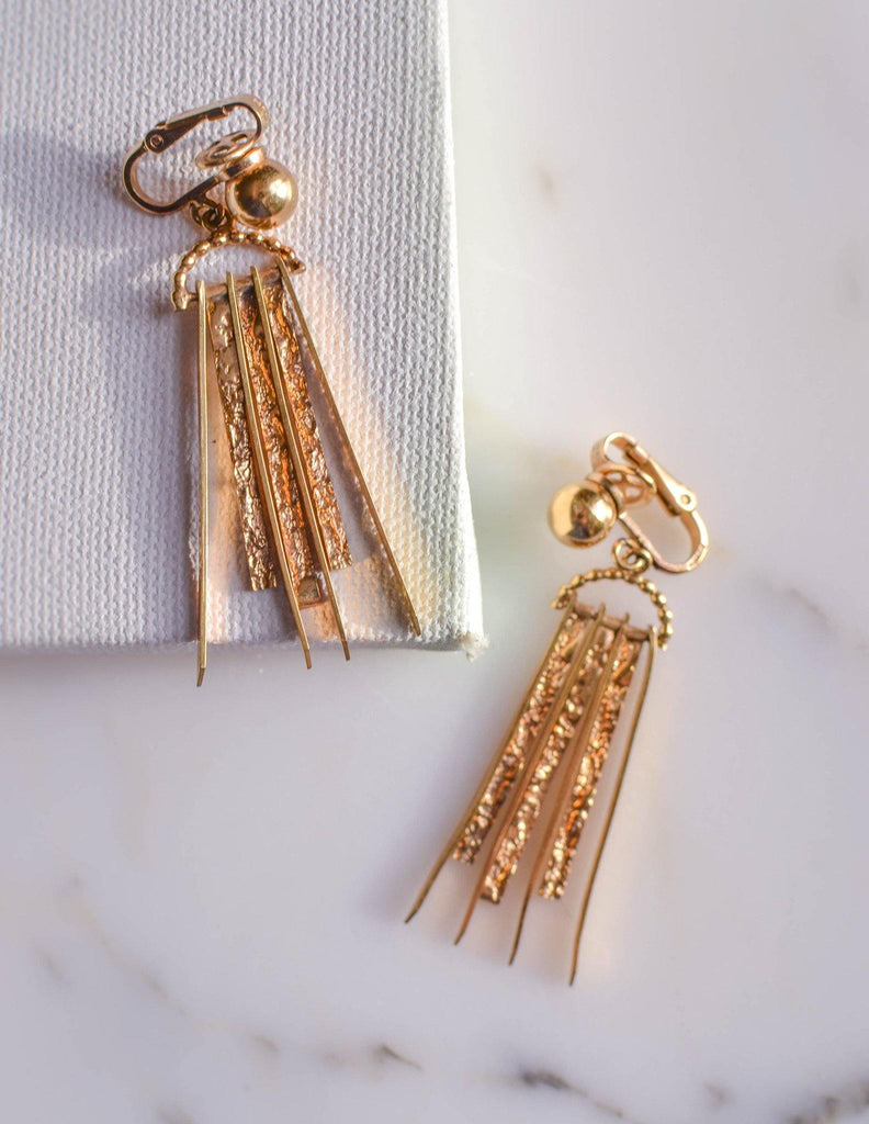 Gold Dagger Spike Earrings by Winard - Vintage Meet Modern  - 1