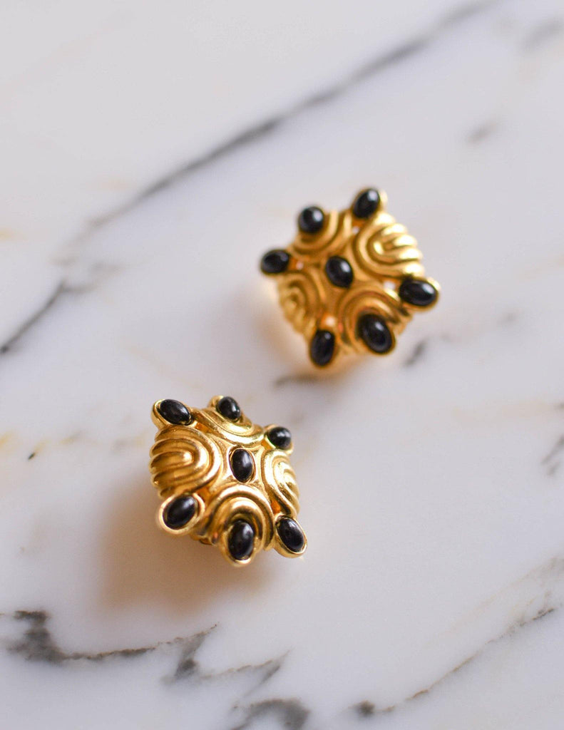 1980s Black and Gold Statement Earrings - Vintage Meet Modern  - 1