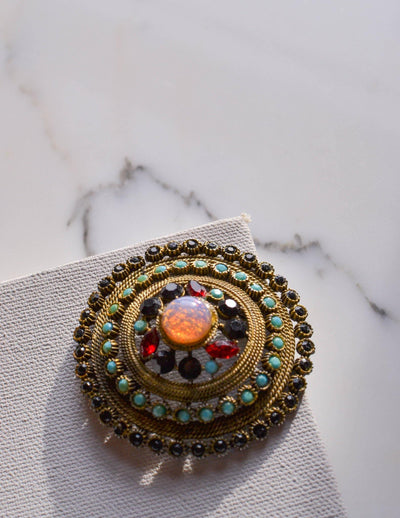 Fire Opal, Garnet, Turquoise, Jet Black Rhinestone Medallion Pendant by Unsigned Beauty - Vintage Meet Modern - Chicago, Illinois