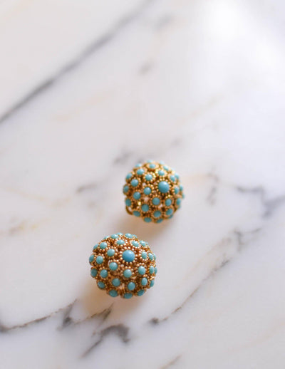 Turquoise Gold Dome Earrings by Unsigned Beauties - Vintage Meet Modern Vintage Jewelry - Chicago, Illinois - #oldhollywoodglamour #vintagemeetmodern #designervintage #jewelrybox #antiquejewelry #vintagejewelry