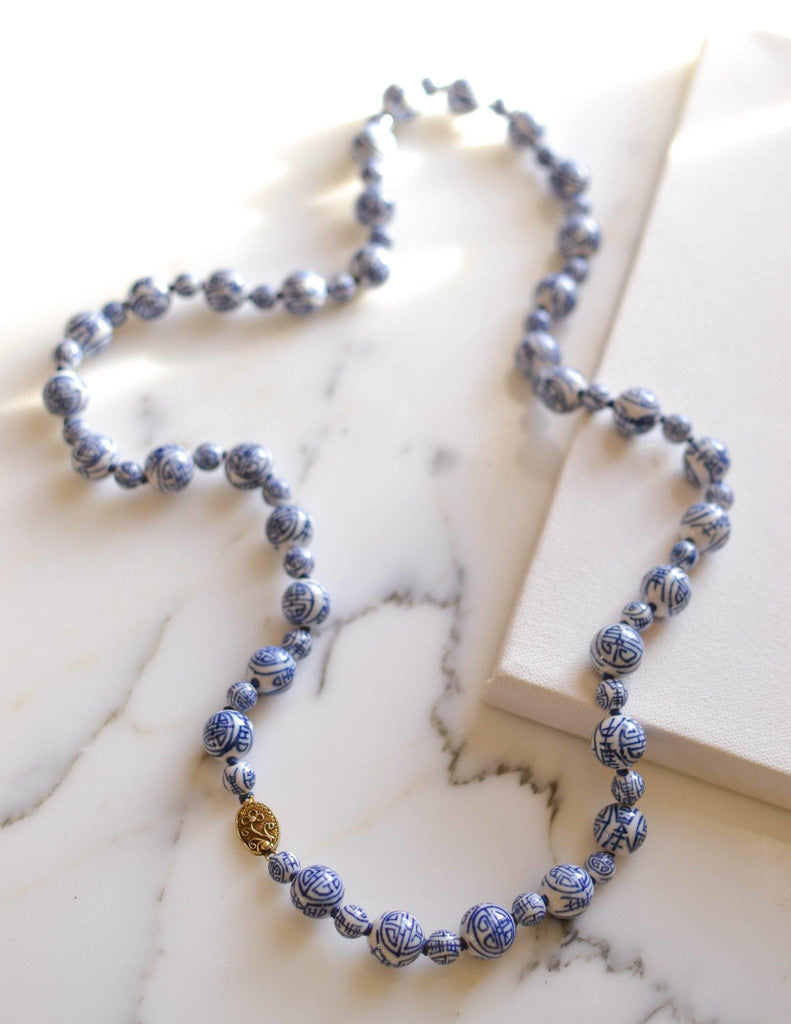 Chinese Export Blue and White Porcelain Bead Necklace - Vintage Meet Modern  - 1