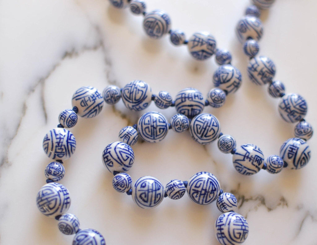Chinese Export Blue and White Porcelain Bead Necklace - Vintage Meet Modern  - 7