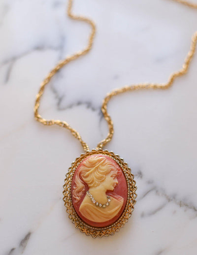 Victorian Revival Cameo Pendant Necklace by Unsigned Beauty - Vintage Meet Modern - Chicago, Illinois